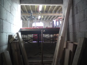 View from the newly built lift shaft